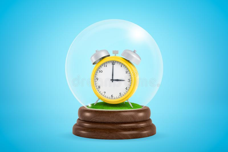 3d close-up rendering of yellow retro alarm clock standing inside glass ball globe on light-blue background. royalty free illustration