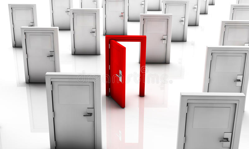 3d Closed doors in white and one in red open royalty free illustration