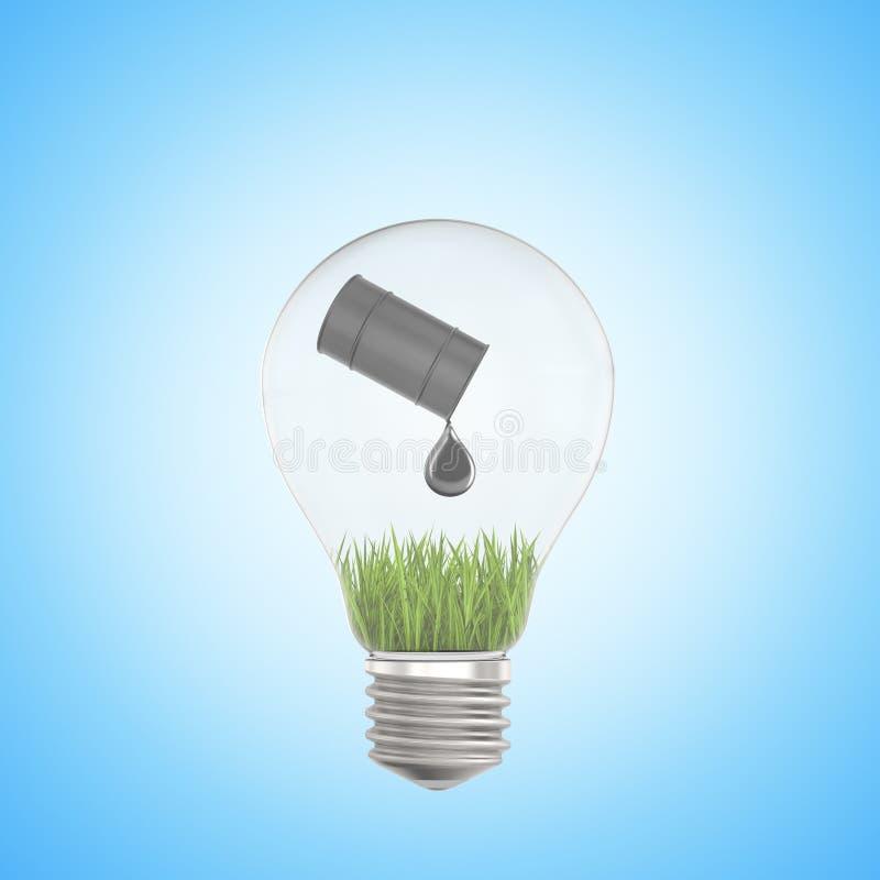 3d closeup rendering of lightbulb with tipped black oil barrel spilling oil drop on green grass inside on light blue stock photo