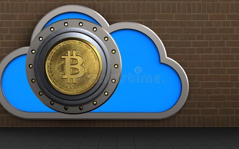 3d cloud bitcoin safe royalty free illustration