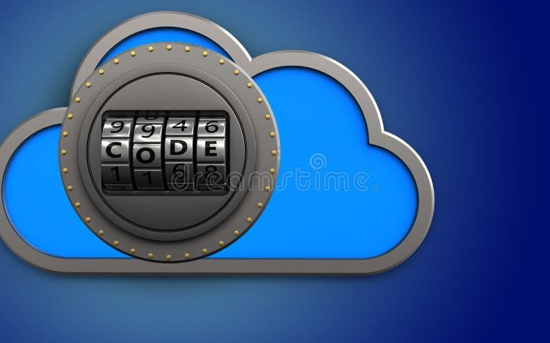 3d cloud safe vector illustration