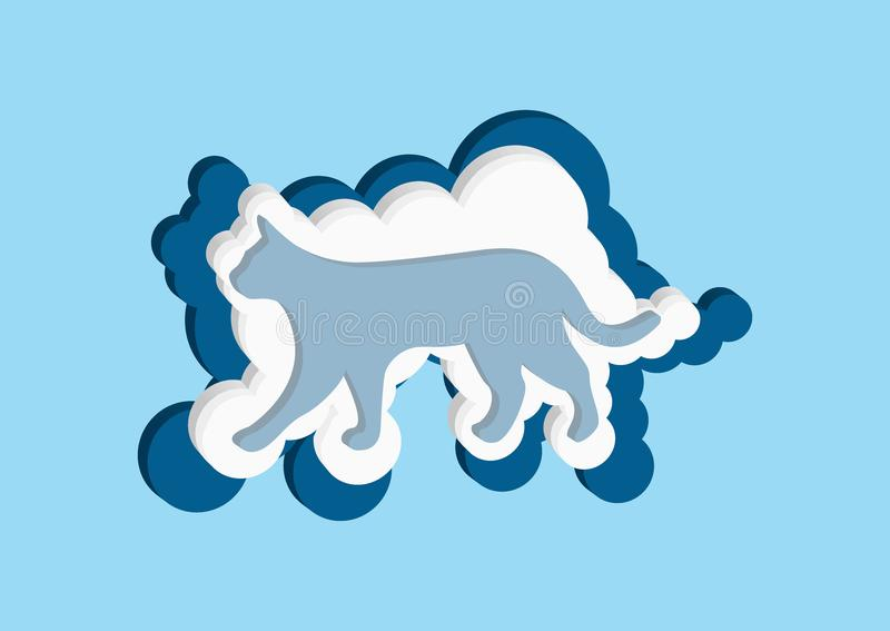 3D Clouds in the form of a сat. Vector icons cloud blue and white color on a blue background. Clouds in the form of a сat. Vector icons cloud blue and royalty free illustration