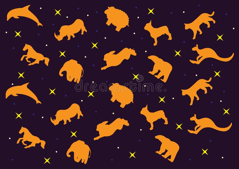 3D clouds in the form of a animals. Vector icons cloud blue and white color on a blue background. 3D clouds in the form of a animals. Vector icons cloud orange royalty free illustration