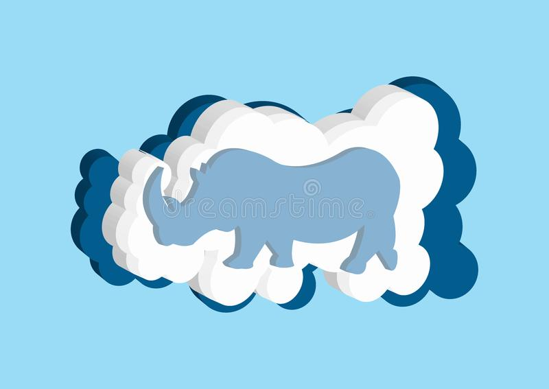 3D Clouds in the form of a rhinoceros from Africa. Vector icons cloud blue and white color on a blue background. Clouds in the form of a rhinoceros. Vector royalty free illustration