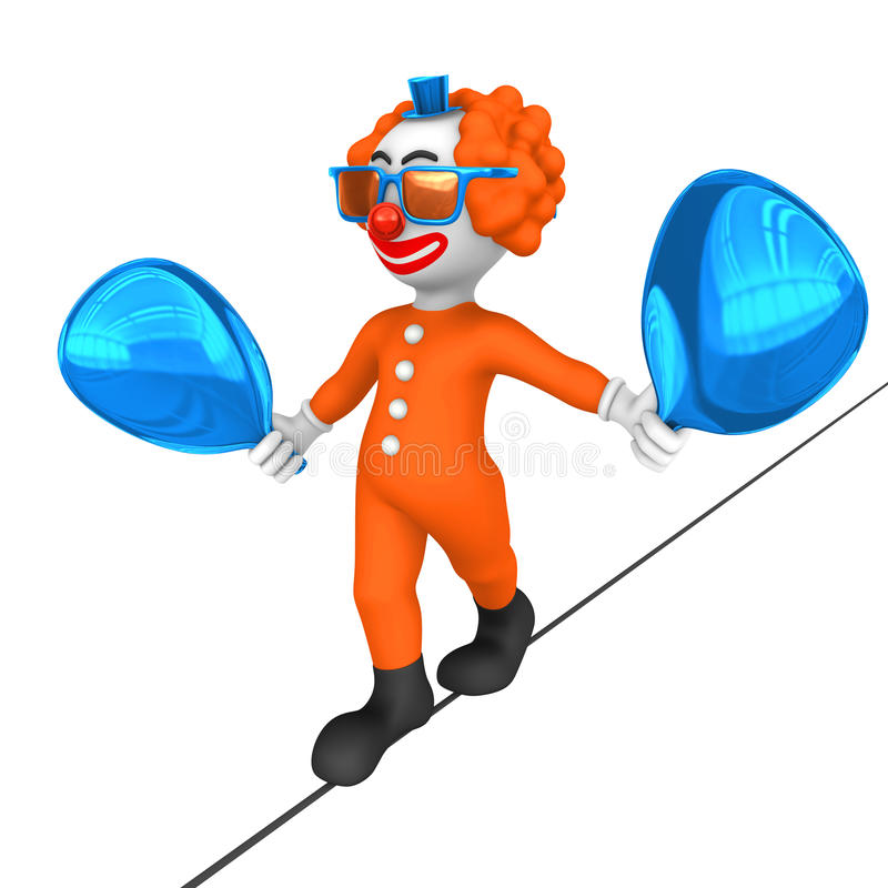 3d Clown Kabelgang in circus vector illustratie