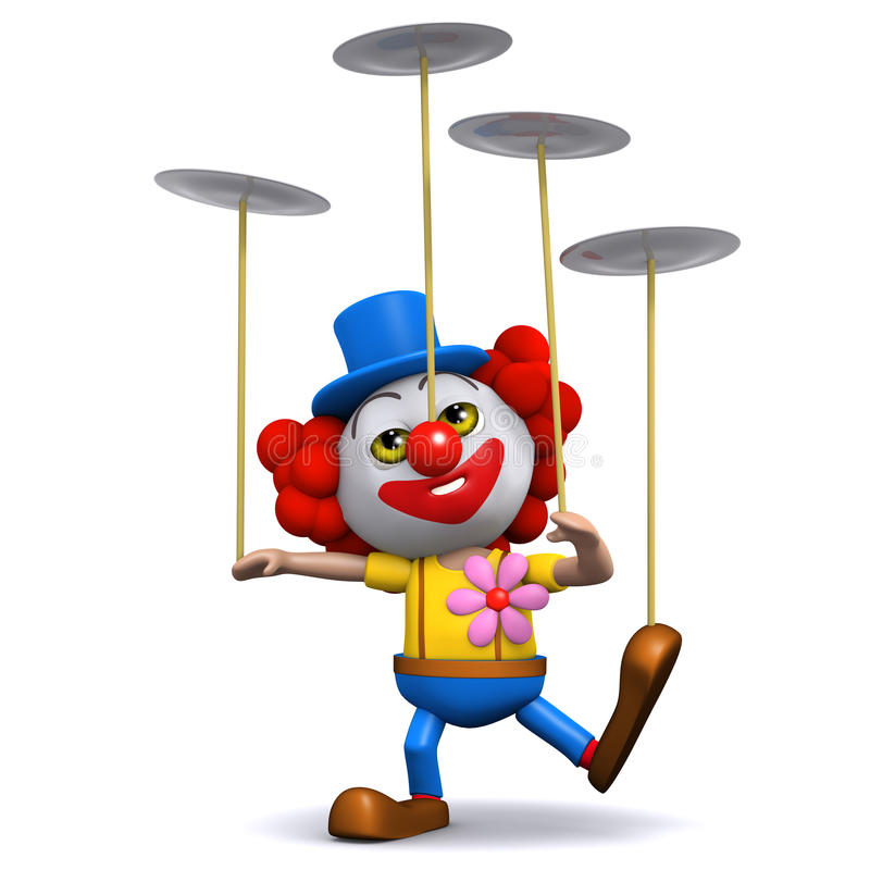 3d Clown spins plates. 3d render of a clown spinning many plates stock illustration