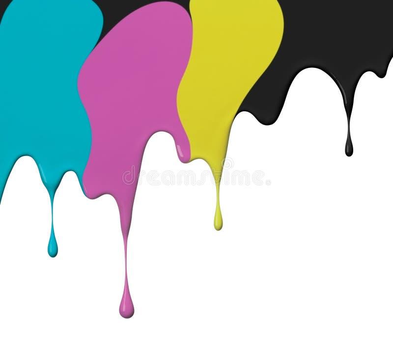 3d cmyk油漆白色 向量例证
