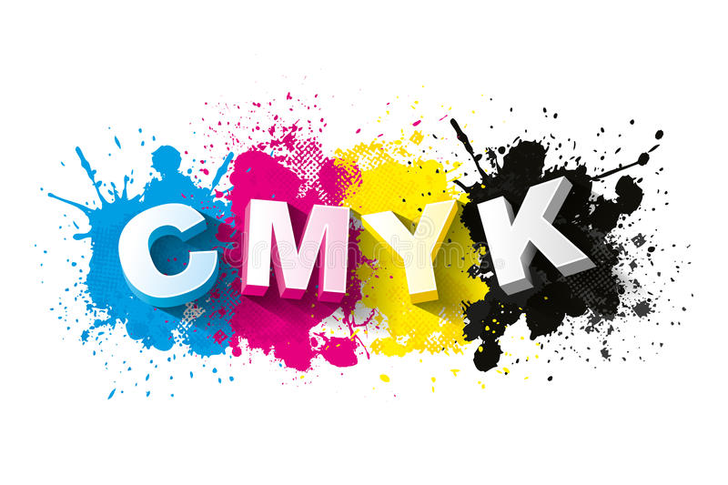 3d CMYK letters with paint splash background royalty free illustration