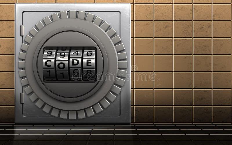 3d code dial metal safe royalty free illustration