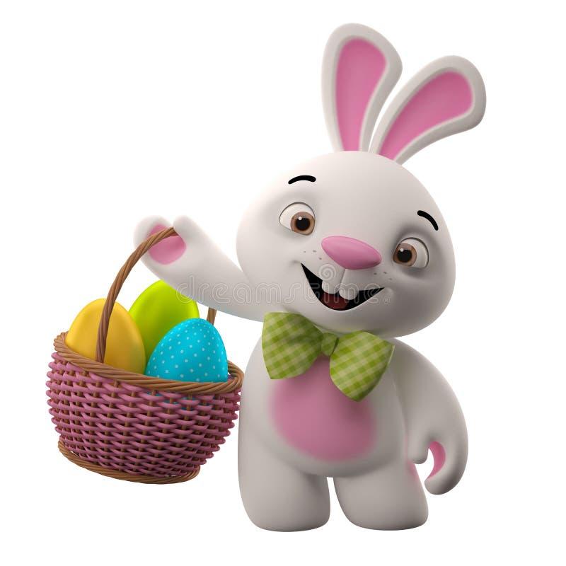 3D coelhinho da Páscoa, coelho alegre dos desenhos animados, caráter animal com os ovos da páscoa na cesta de vime ilustração do vetor