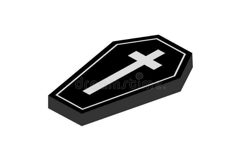 3D Coffin icon. Trendy Coffin logo concept on white background stock illustration