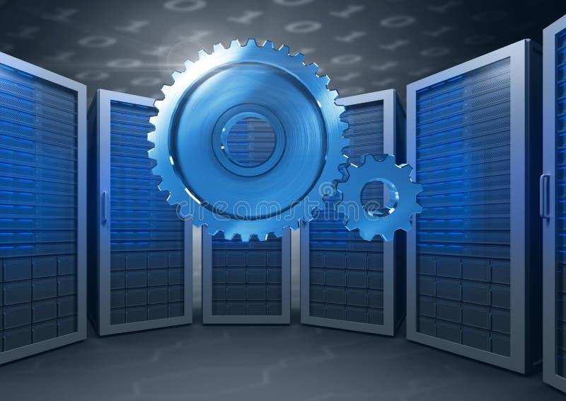 3D cog przekładnie z serwerami w tle ilustracji
