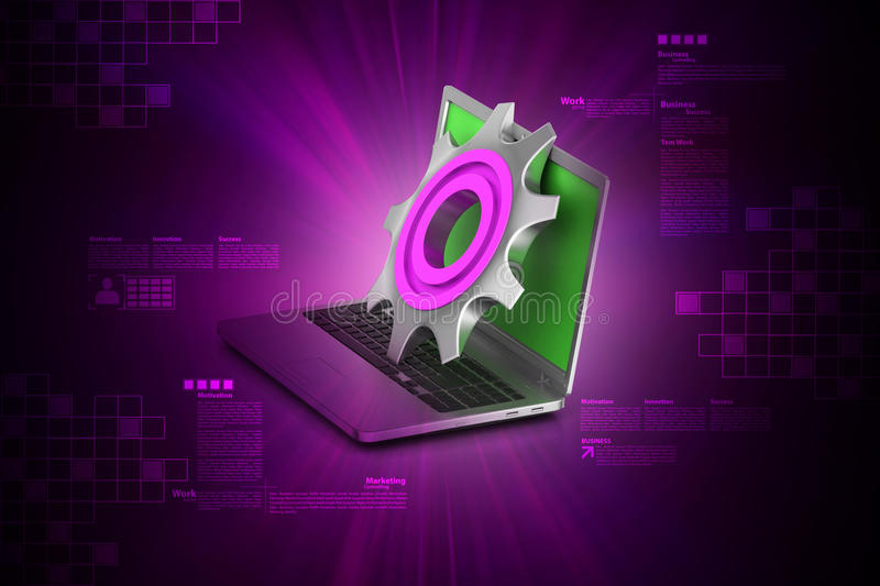 3d cog wheel with computer mouse. In color background stock illustration