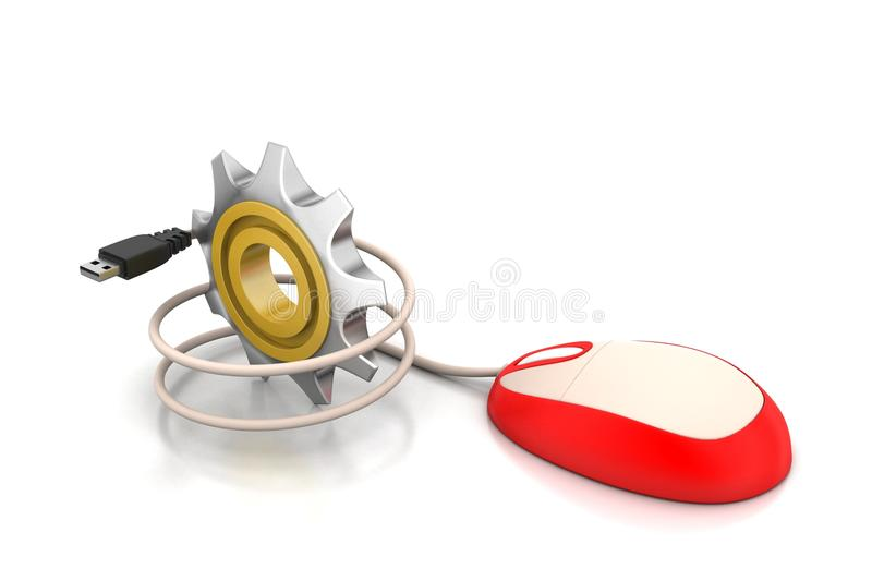 3d cog wheel with computer mouse vector illustration