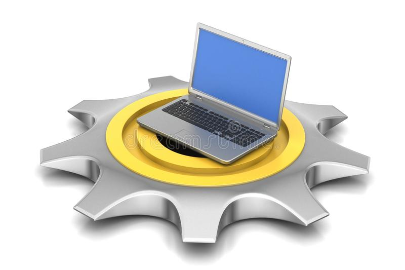 3d cog wheel with computer mouse stock illustration
