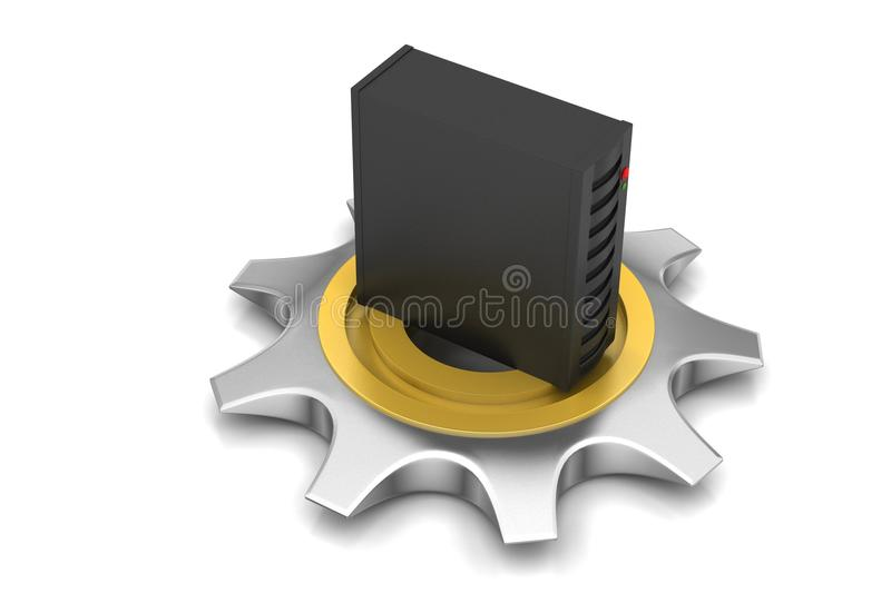 3d cog wheel with server. In white background vector illustration