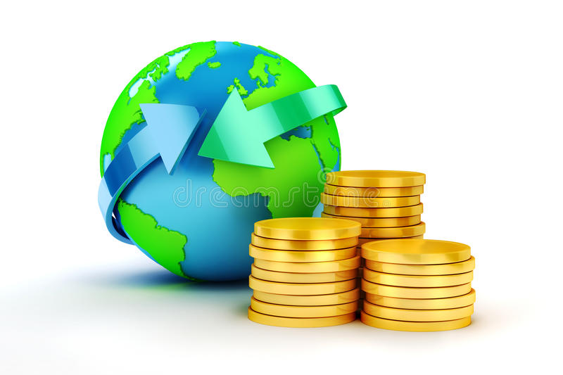 3d coins and earth planet. On white background