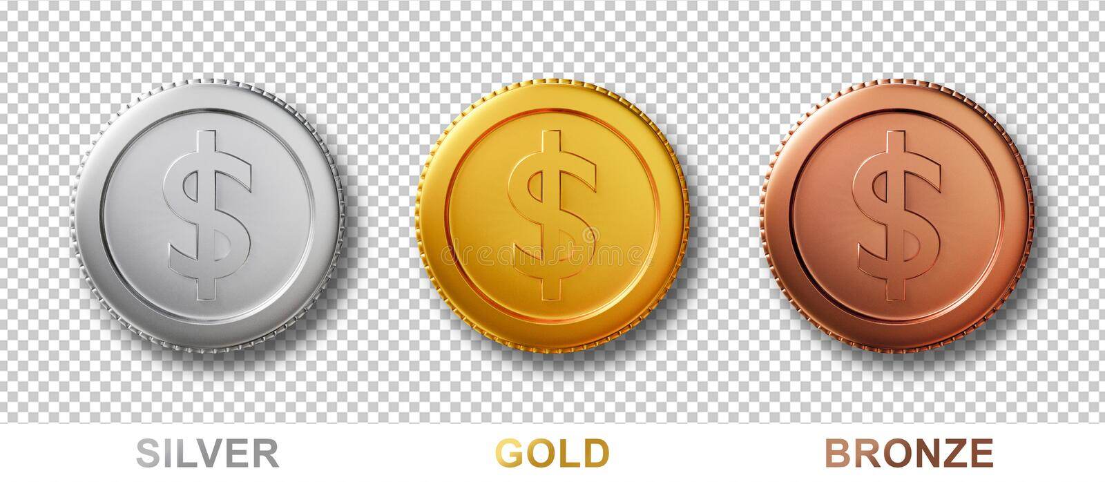 3d coins isolated on white background with clipping path. Set of realistic money dollar coin in silver, bronze, gold metal. 3d. Render idea for mock up royalty free illustration