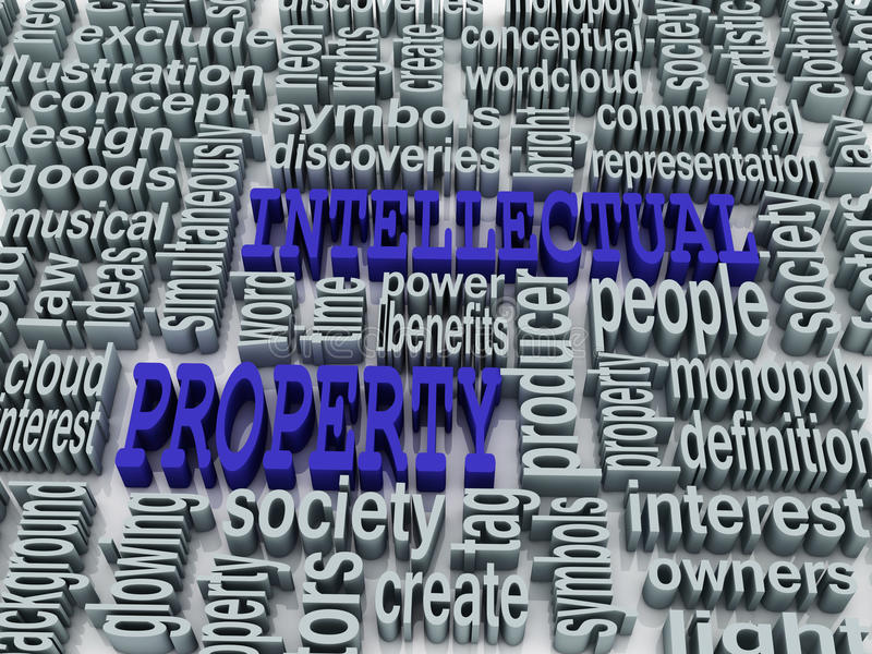3d collage of Intellectual property. And related words royalty free illustration