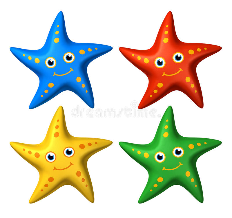 3D collection of colorful smiling starfish toys looking ahead stock illustration