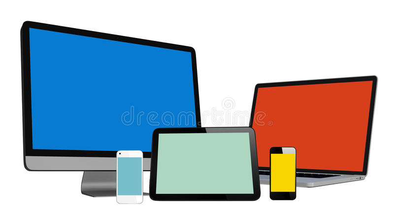 3D Collection of Digital Devices stock illustration