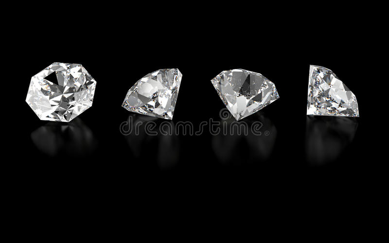 3d collection of four various diamonds stock illustration