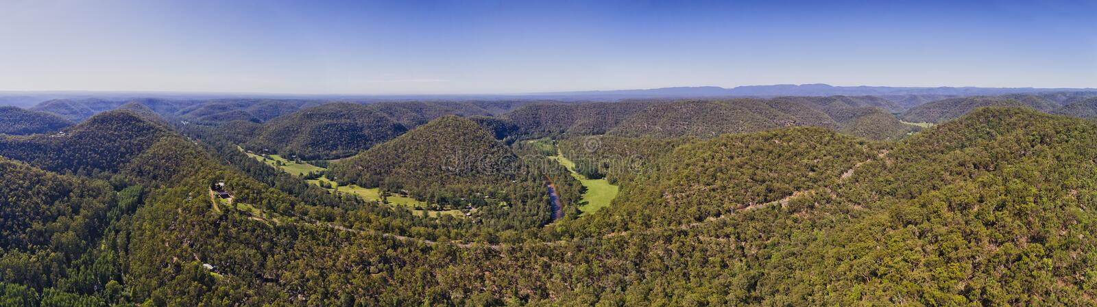 D Colo Heights Wide Pan. Putty road running on the top of hill range through gum-tree woods along Colo river in Colo heights part of Blue mountains national park stock images