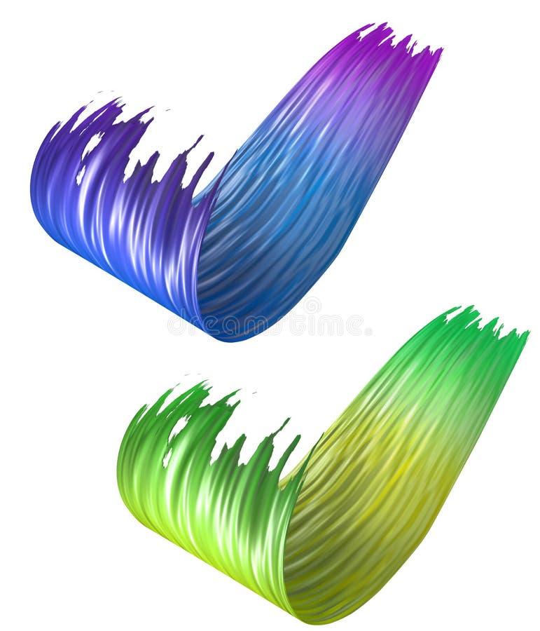 3D coloré a courbé des courses de peinture de brosse illustration de vecteur