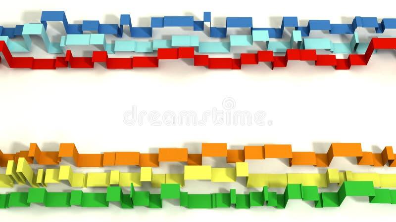 3D coloré multi a illustré les rubans géométriques sur un fond blanc illustration stock