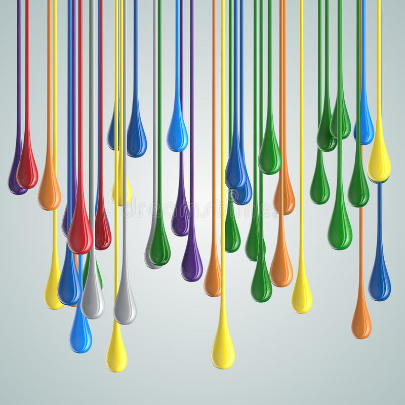 3D color glossy paint drop blobs. 3D rendering stock illustration