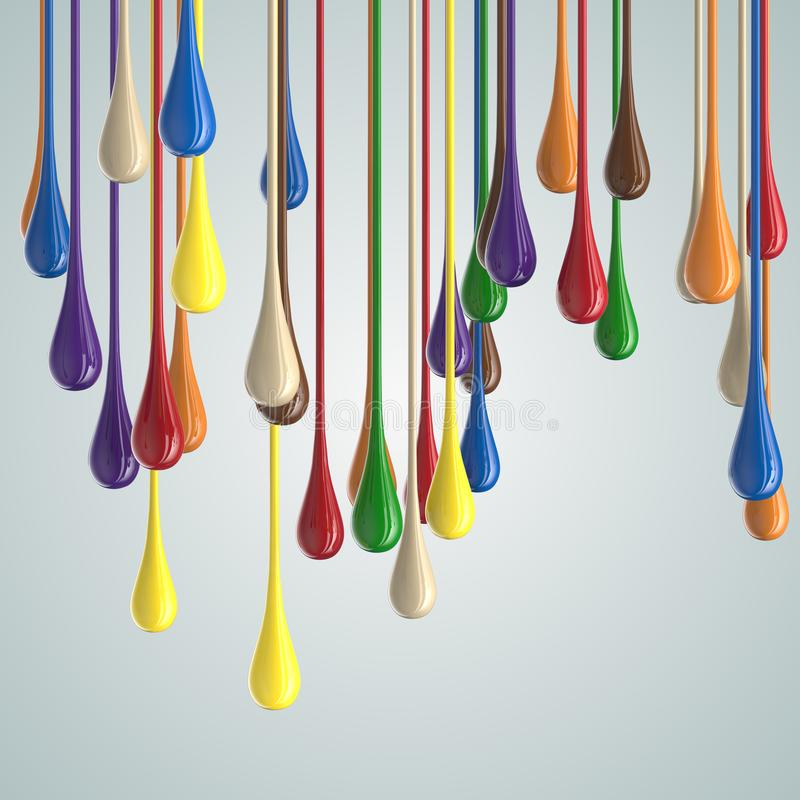 3D color glossy paint drop blobs. Isolated on white. 3D rendering stock illustration