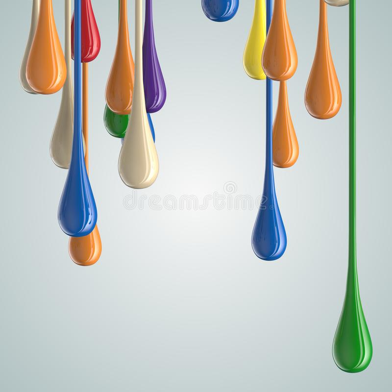 3D color glossy paint drop blobs. Isolated on white. 3D rendering vector illustration