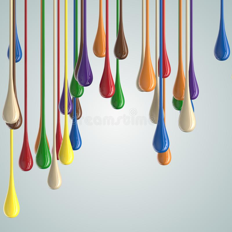 3D color glossy paint drop blobs. Isolated on white. 3D rendering royalty free illustration