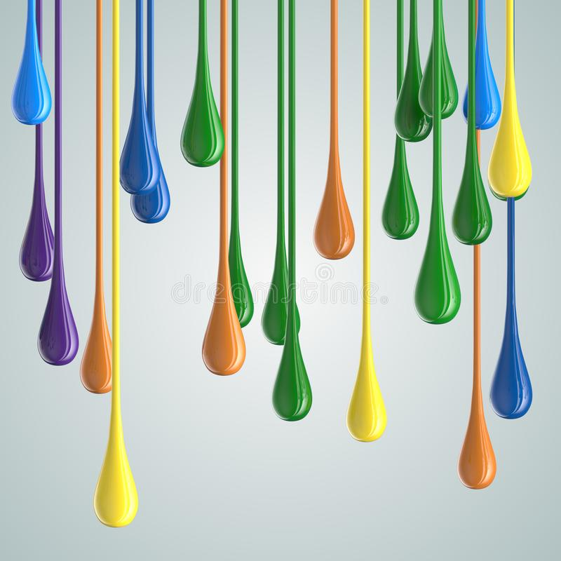 3D color glossy paint drop blobs. 3D rendering royalty free illustration