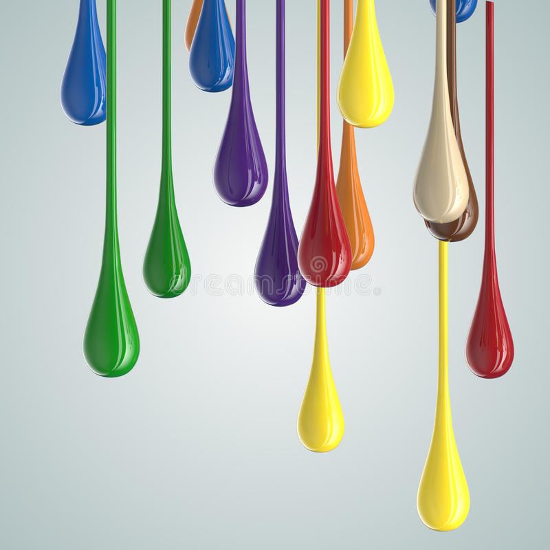 3D color glossy paint drop blobs. On white. 3D rendering royalty free illustration