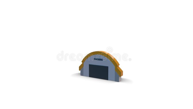 3d color icon of airport hangar. 3d icon of hangar with semicircle roof isolated on white background royalty free illustration