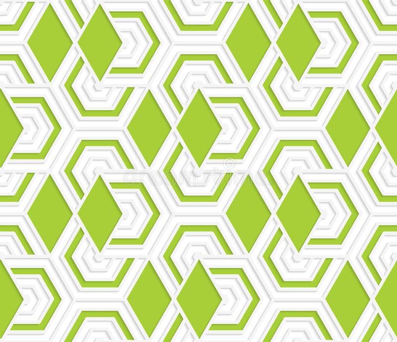 3D coloreado que coincide con hexágonos verdes de los diamantes libre illustration