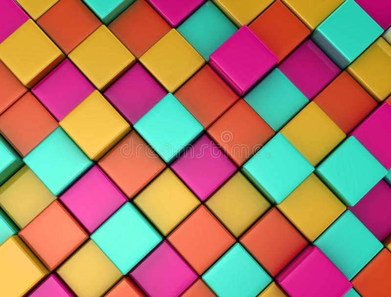 3d colored cubes background stock photo