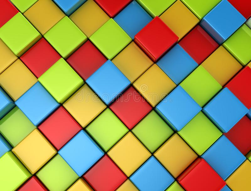 3d colored cubes background stock images