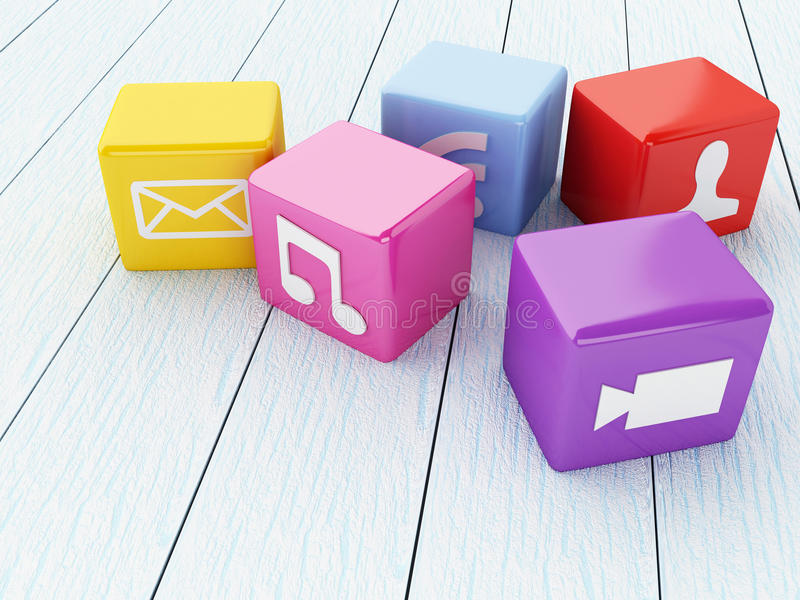 3D Colorful app icons. vector illustration