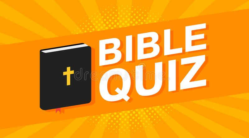 Art Quiz : 3d colorful bible quiz text on pop art rays background. vector stock