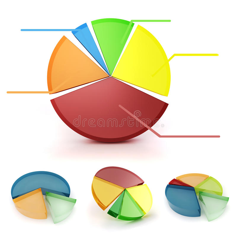 3d colorful business graph set. On white background vector illustration