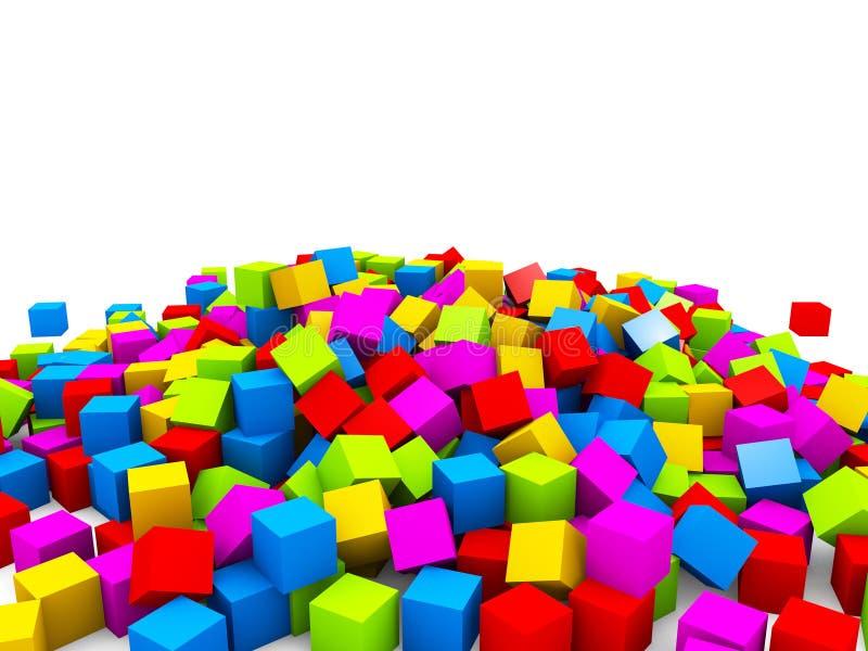 3D colorful cubes heap stock illustration