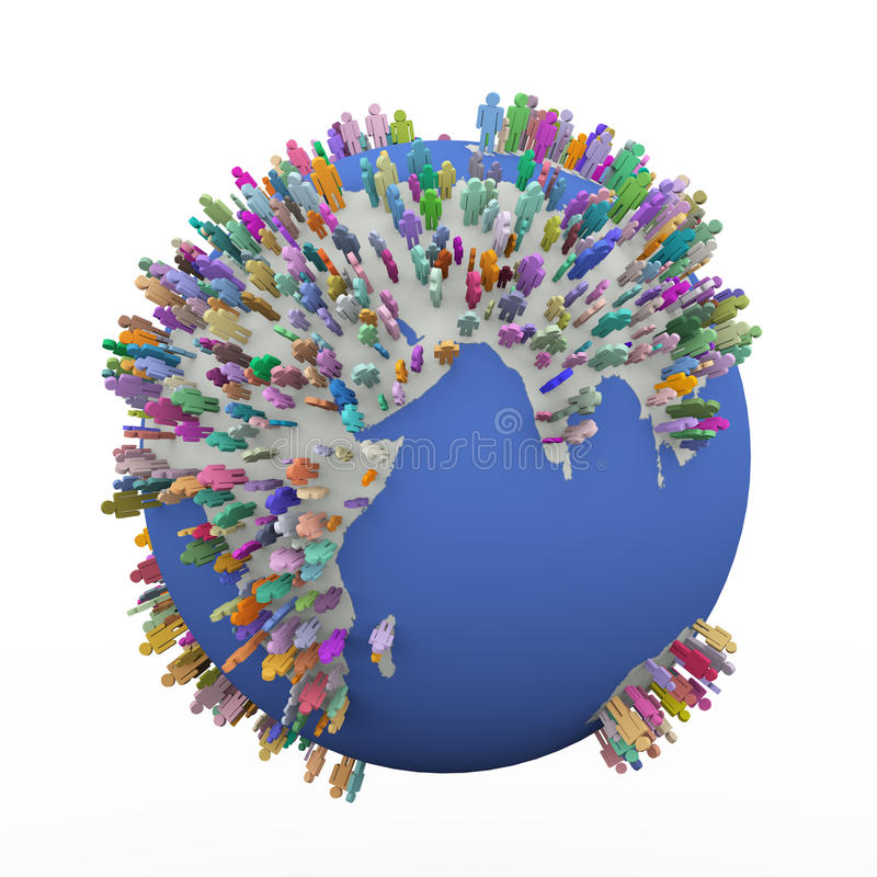 3d colorful different people around earth world globe vector illustration