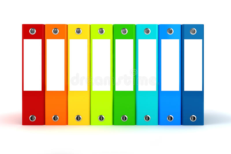 3d colorful dossiers folders stock illustration