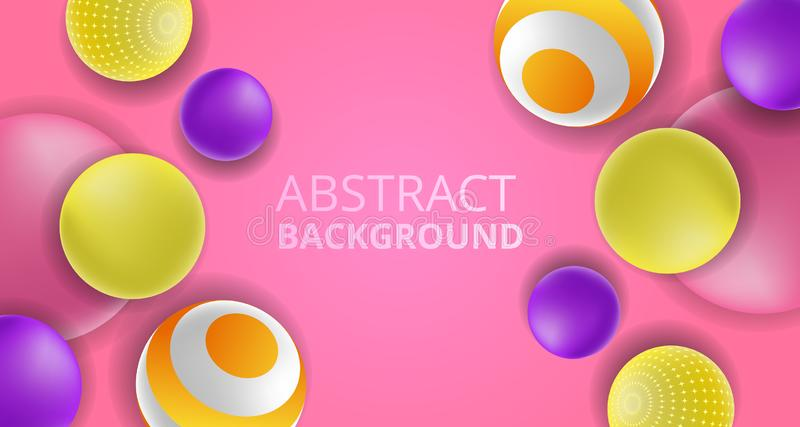 3D colorful fun decorative ball abstract background feminine pink background royalty free illustration