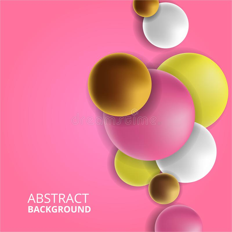 3D colorful fun decorative ball abstract background feminine with pink background. 3D colorful fun decorative gold, pink, white, yellow ball abstract background royalty free illustration