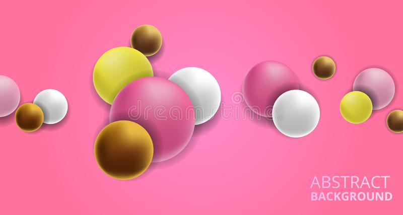 3D colorful fun decorative pink, white, yellow ball abstract background. Feminine with pink background vector illustration