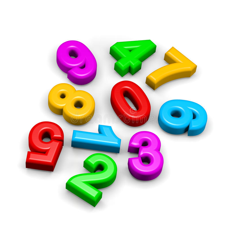 3D colorful funny disorderly digits illustration. 3D colorful funny disorderly digits on white background illustration stock illustration