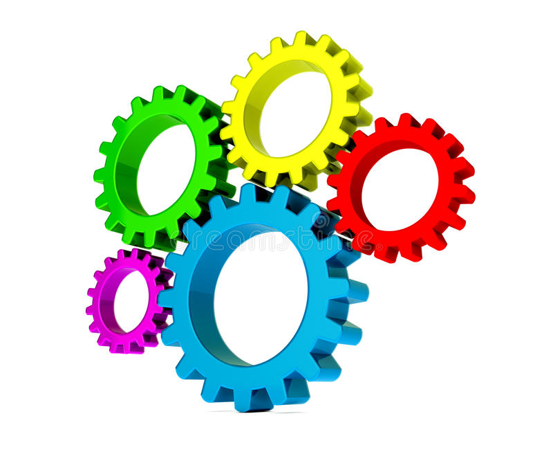 3D colorful gears stock illustration. Image of blue, power ...